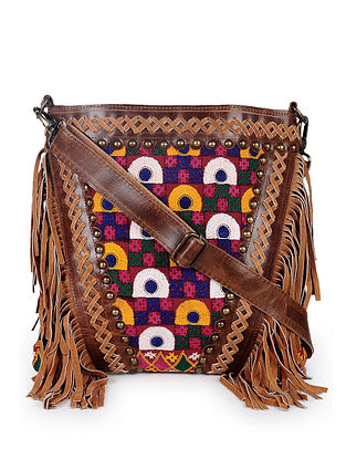 Brown Multicolored Handcrafted Genuine Leather Sling Bag with Fringes