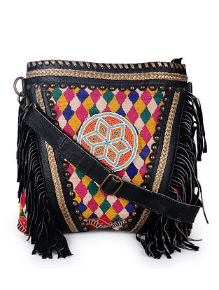 Black Multicolored Handcrafted Genuine Leather Sling Bag with Fringes