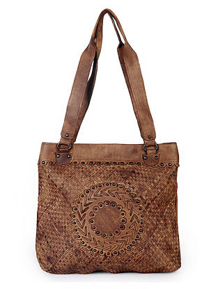 Brown Handcrafted Washed Genuine Leather Tote Bag