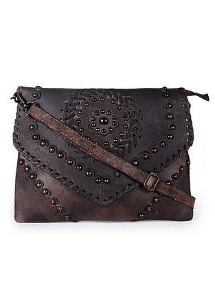 Dark Brown Handcrafted Genuine Leather Sling Bag