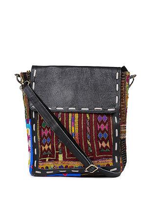 Black Multicolored Genuine Leather Sling Bag