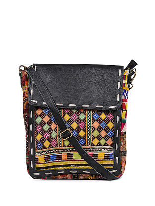 Black Multicolored Genuine Leather Sling Bag