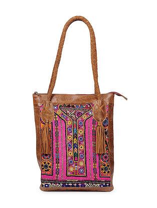 Brown Multicolored Genuine Leather Tote Bag