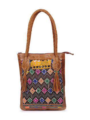 Brown Multicolored Genuine Leather Tote Bag