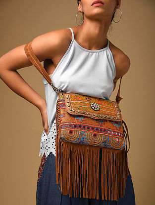 Brown Multicolored Genuine Leather Sling Bag