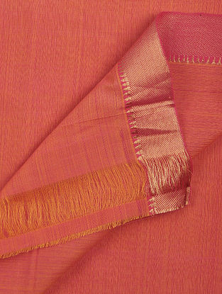 Pink-Orange Cotton Fabric with Zari Border