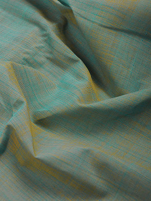 Blue-Green Cotton Fabric with Zari Border