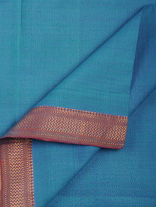 Blue Cotton Fabric with Zari Border