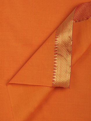 Orange Cotton Fabric with Zari Border