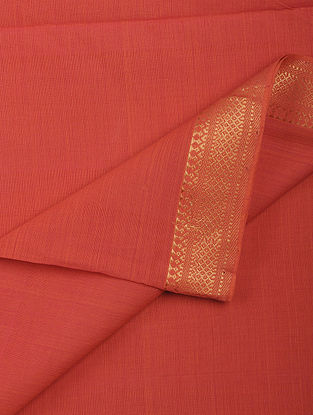 Coral Cotton Fabric with Zari Border