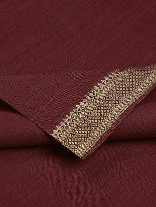 Maroon Cotton Fabric with Zari