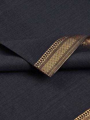 Black Cotton Fabric with Zari Border
