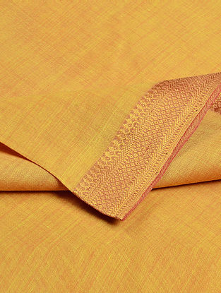 Yellow Cotton Fabric with Zari Border