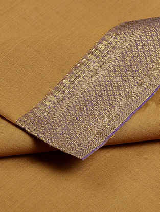Mustard Cotton Fabric with Zari Border