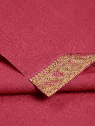Red Cotton Fabric with Zari Border