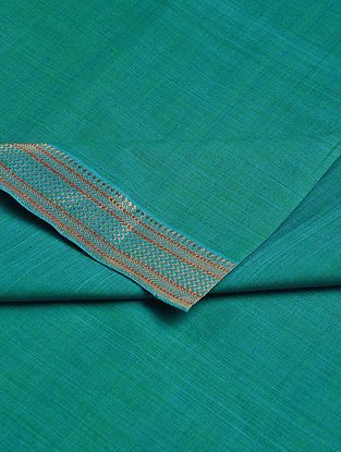 Sea-Green Cotton Fabric with Zari Border