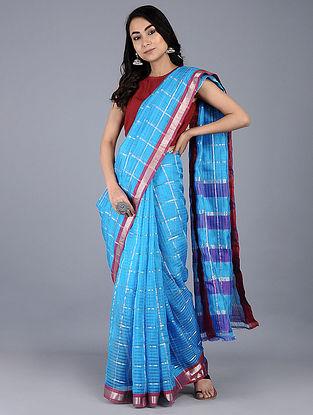 Blue-Purple Cotton Silk Saree with Zari