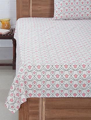 Pink-White Tulip Screen Printed Bedsheet