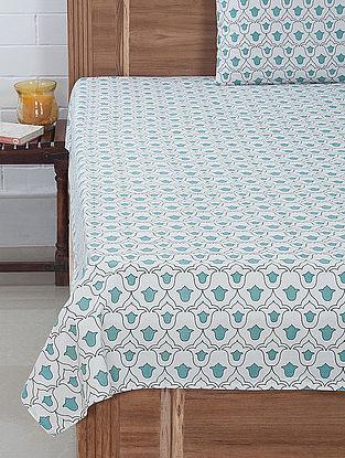 Aqua-White Tulip Screen Printed Bedsheet