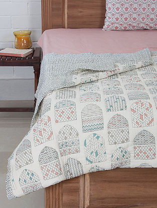 Hand Quilted Screen Printed Quilt with Cotton Filling (Reversible) 94in x 88in