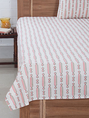 Pink-White Column Screen Printed Bedsheet