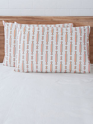 Pink Column Screen Printed Pillow Covers (Set of 2) 27.5in x 19.5in