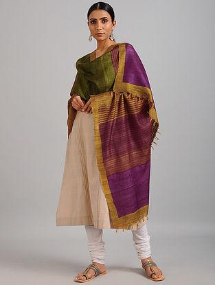 Green-Purple Handwoven Block Printed Ghicha Tussar Silk Dupatta