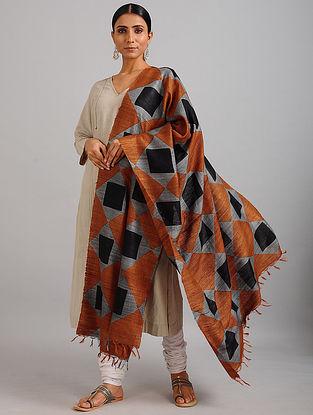 Black-Brown Handwoven Block Printed Ghicha Tussar Silk Dupatta