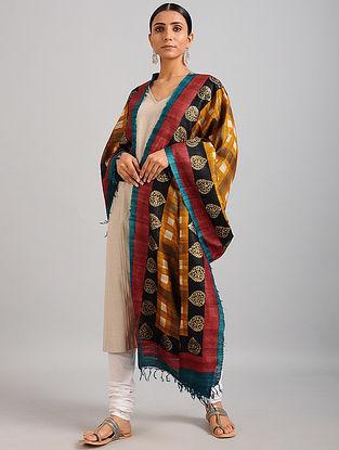 Yellow-Red Handwoven Block Printed Ghicha Tussar Silk Dupatta