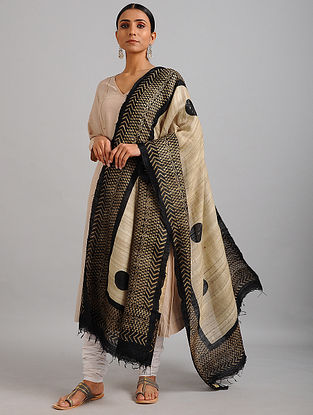 Beige-Black Handwoven Block Printed Ghicha Tussar Silk Dupatta