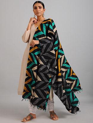 Multicolored Handwoven Block Printed Ghicha Tussar Silk Dupatta