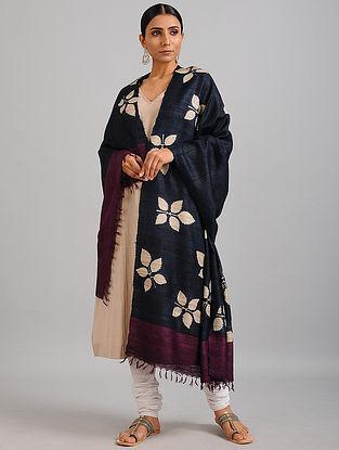 Black-Ivory Handwoven Block Printed Ghicha Tussar Silk Dupatta
