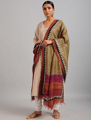 Beige-Red Handwoven Block Printed Ghicha Tussar Silk Dupatta