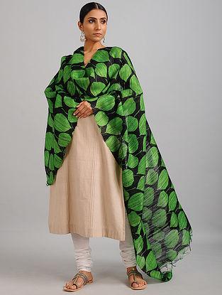 Green-Black Handwoven Block Printed Ghicha Tussar Silk Dupatta