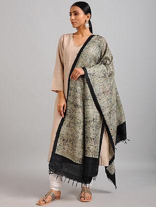 Grey-Black Handwoven Block Printed Ghicha Tussar Silk Dupatta
