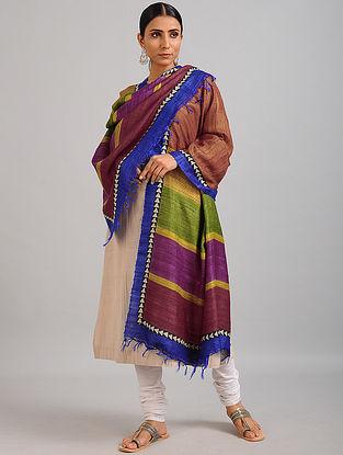 Brown-Red Handwoven Block Printed Ghicha Tussar Silk Dupatta