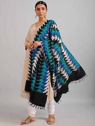 Blue-Black Handwoven Block Printed Ghicha Tussar Silk Dupatta