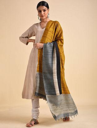 Yellow-Grey Block Printed Ghicha Tussar Silk Dupatta