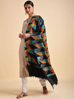 Multicolored Block Printed Ghicha Tussar Silk Dupatta