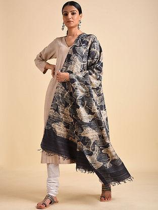 Charcoal-Beige Block Printed Ghicha Tussar Silk Dupatta