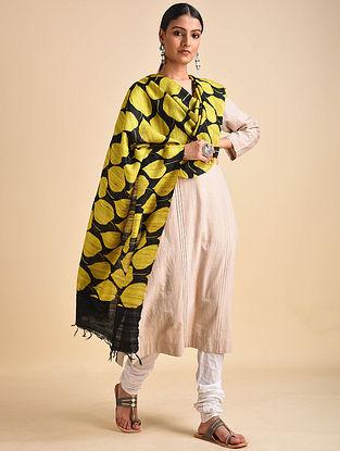 Yellow-Black Block Printed Ghicha Tussar Silk Dupatta