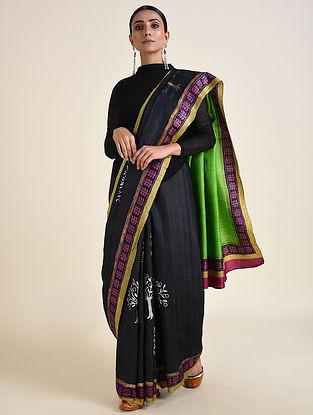 Black-Green Handwoven Block Printed Ahimsa Silk Saree