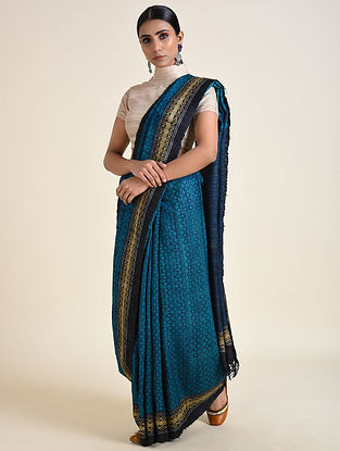 Blue Handwoven Ahimsa Silk Saree