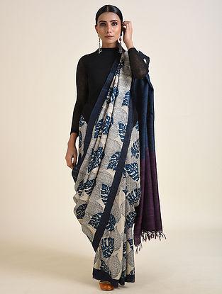 Grey-Blue Handwoven Block Printed Ahimsa Silk Saree