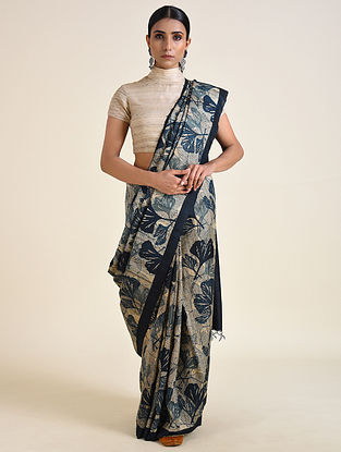 Blue-Grey Handwoven Block Printed Ahimsa Silk Saree