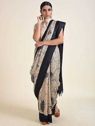 Beige-Black Handwoven Block Printed Ahimsa Silk Saree