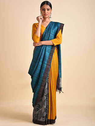 Blue-Yellow Block Printed Ghicha Tussar Silk Saree