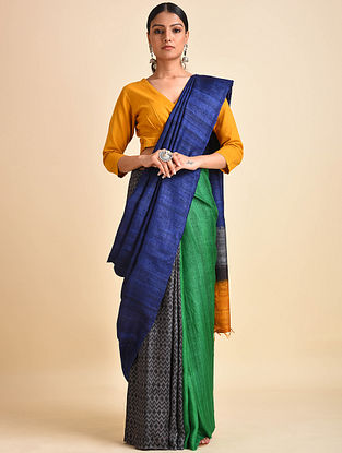 Green-Blue Block Printed Ghicha Tussar Silk Saree