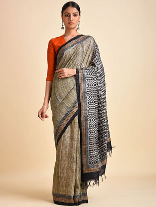 Beige-Black Block Printed Ghicha Tussar Silk Saree