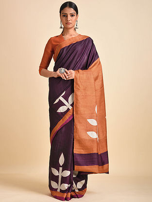 Purple-Orange Block Printed Ghicha Tussar Silk Saree